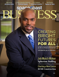 Cover of the May 2018 issue of Space Coast Business Magazine