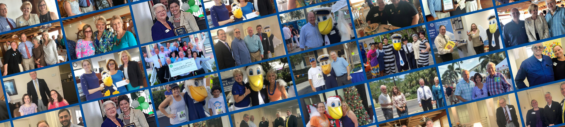 A collage of photos that include images of many Marine Bank & Trust Employees