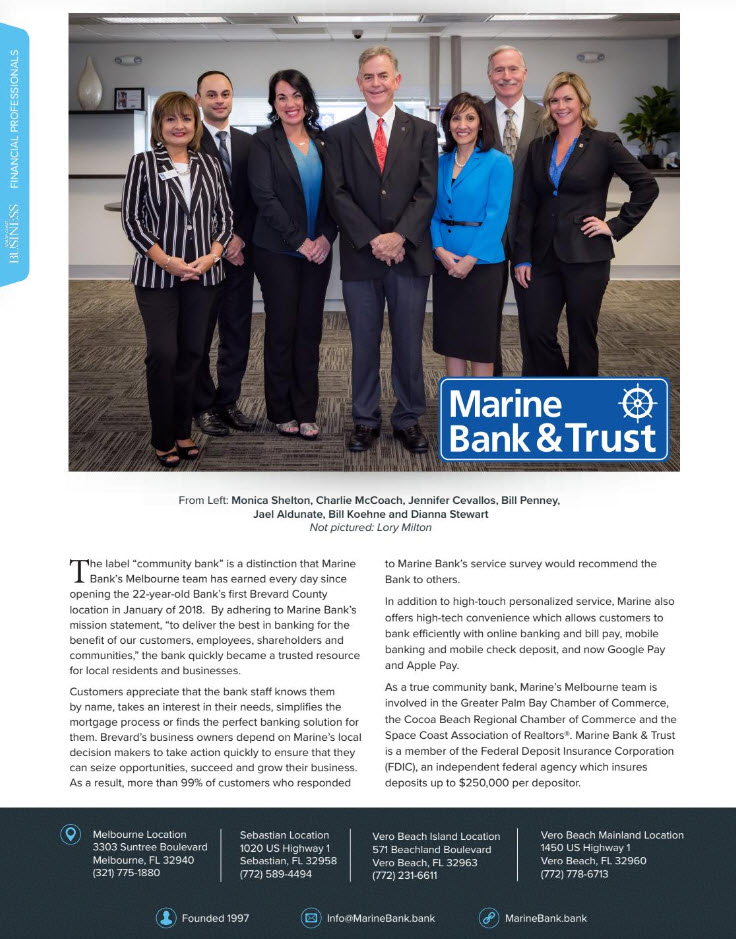 Space Coast Business Article about Marine Bank