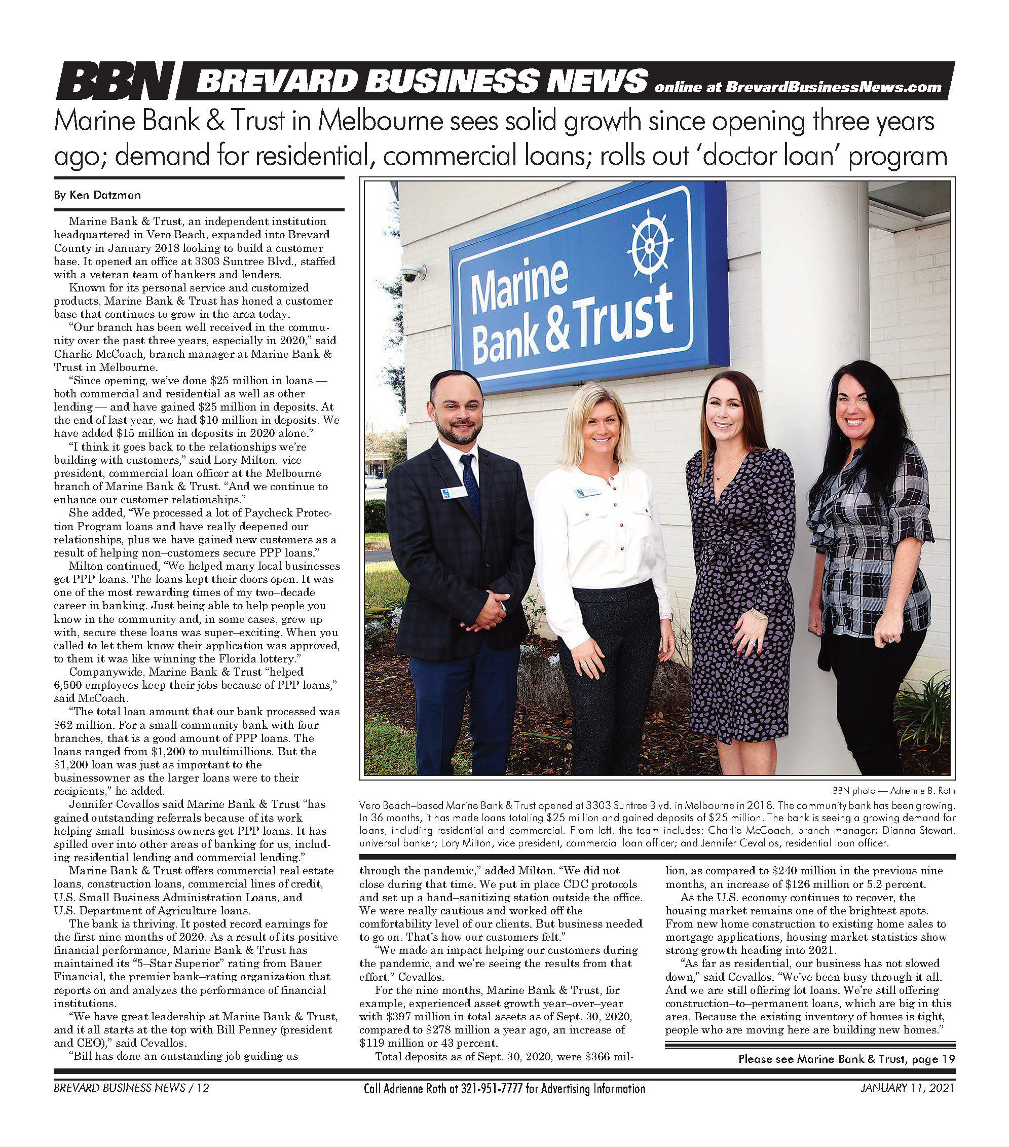Marine Bank in Melbourne Has Grown Since 2018 BBN News Article Page 1