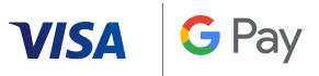 Visa logo and G Pay logo combined