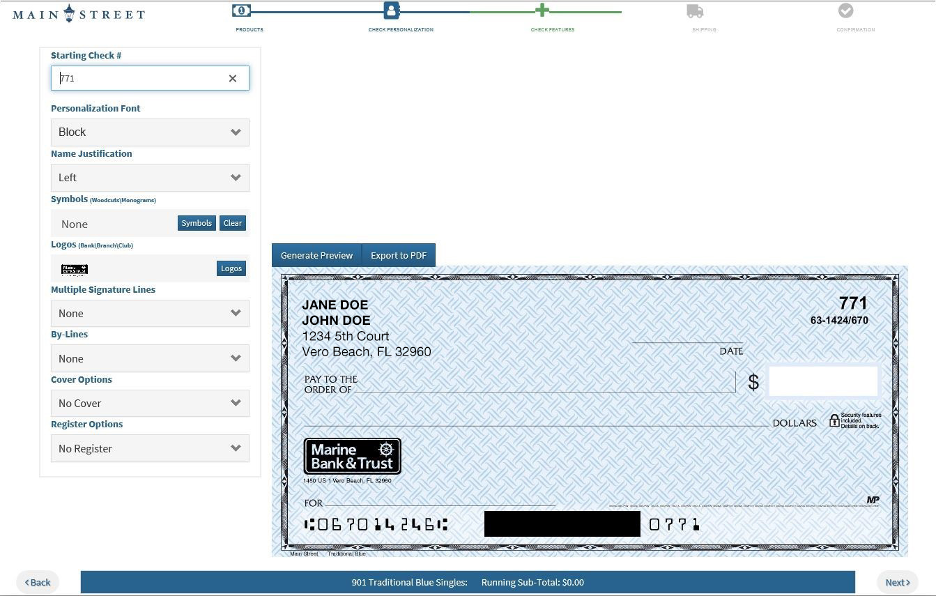 How to reorder checks screen shot from online banking