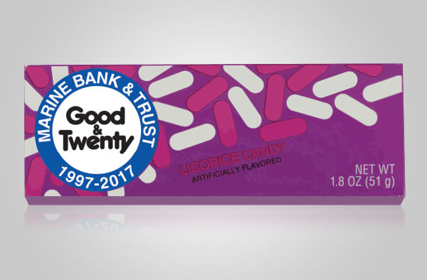 An image of a box of candy with the words Good & Twenty on it.